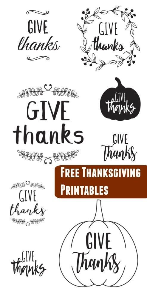 Free Thanksgiving Printables Download - Give Thanks Decoration