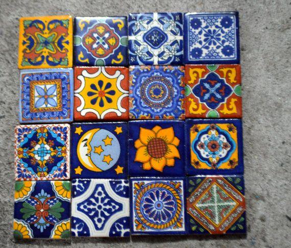 16 Steine Talavera Lackiert Handmade 2 X 2 Von Mexicantiles Dekoration Outdoor Bemalte