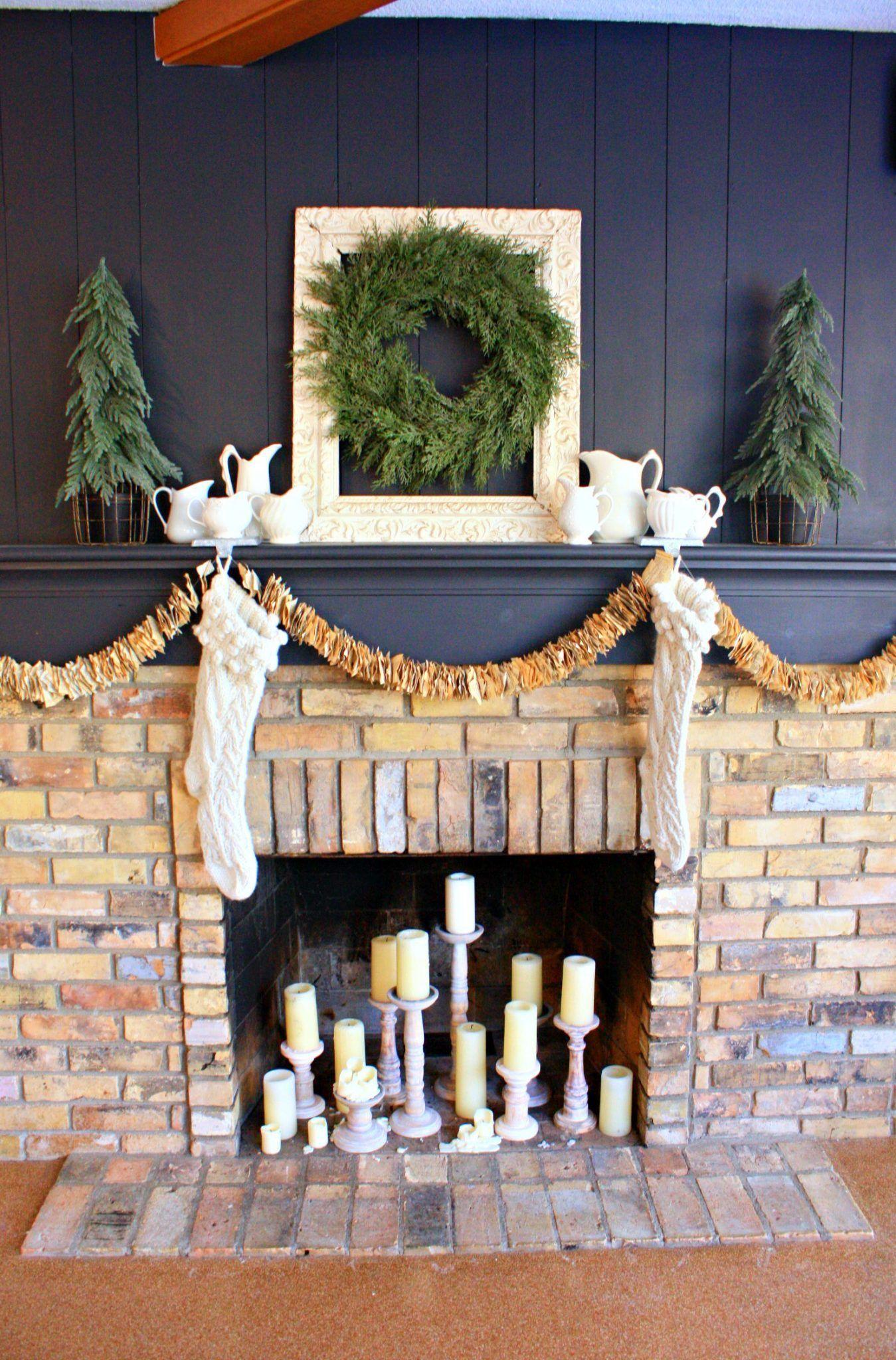 Neutral Nutcracker Tablescape Christmas Fireplace Decor