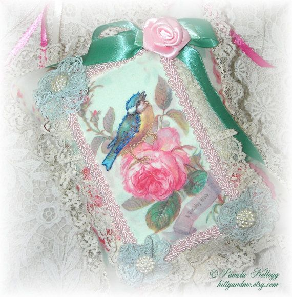 Birthday Gift Hanging Pillow Bird On Rose by Kittyandme on Etsy, $21.95