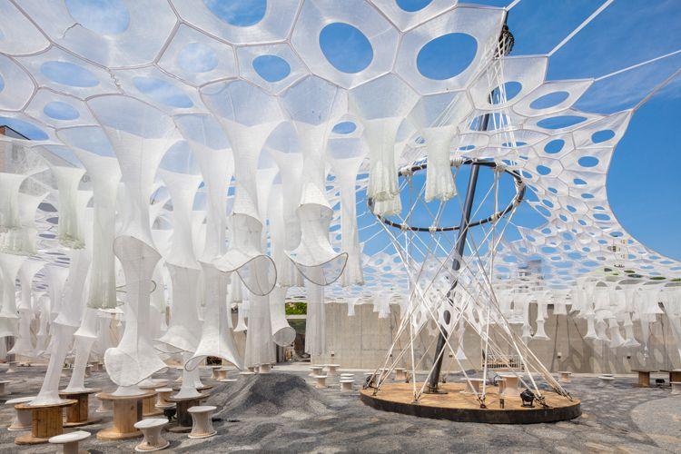 Jenny Sabin Studio's Lumen Installation at MoMA PS1