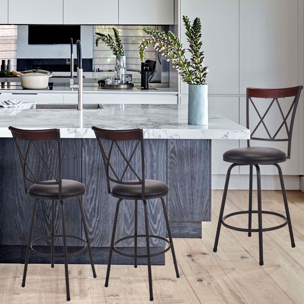 Set Of 3 Bar Stools Adjustable Swivel Pub Chair Pu Leather Counter Dining Chair Niceniceday Modern Bar Stools Bar Stools Pub Chairs