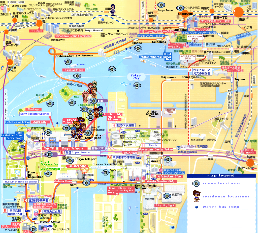 Digimon Locations Mapped Out In Real Life Odaiba Japan - Map 0f japan