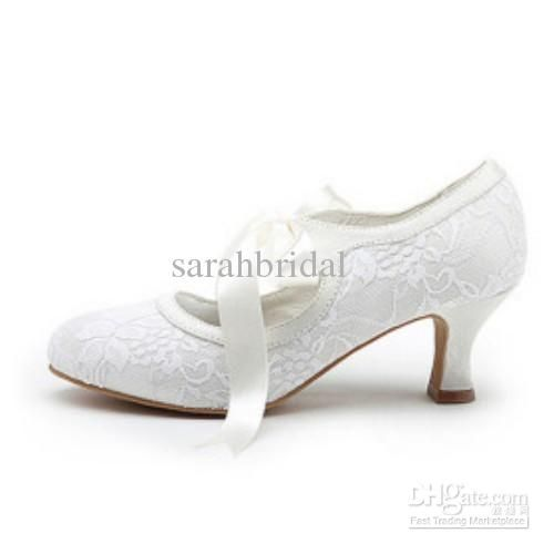 fa548d8ba2 Low+Heel+Wedding+Shoes | ... Low heel Bows Satin white ivory Women ...