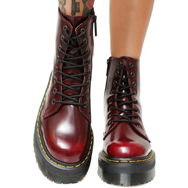 Dr. Martens Cherry Vegan Jadon II Boot ( 175) ❤ liked on Polyvore featuring  shoes d66fced0da484
