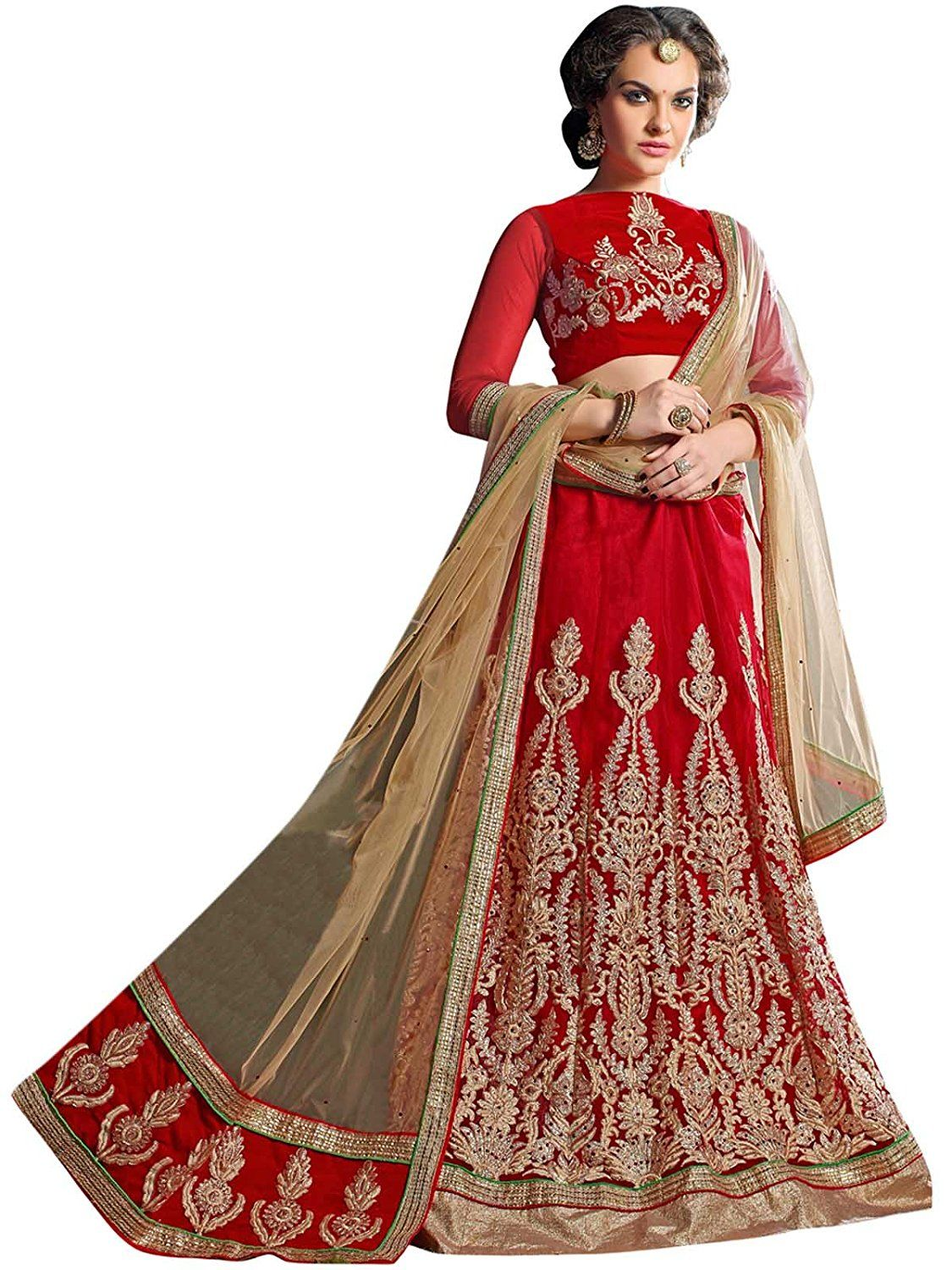 b8af764a7 Manvaa Women s Net Lehenga Choli(MNVMB59008 Red And Beige 42)  Amazon.in   Clothing   Accessories