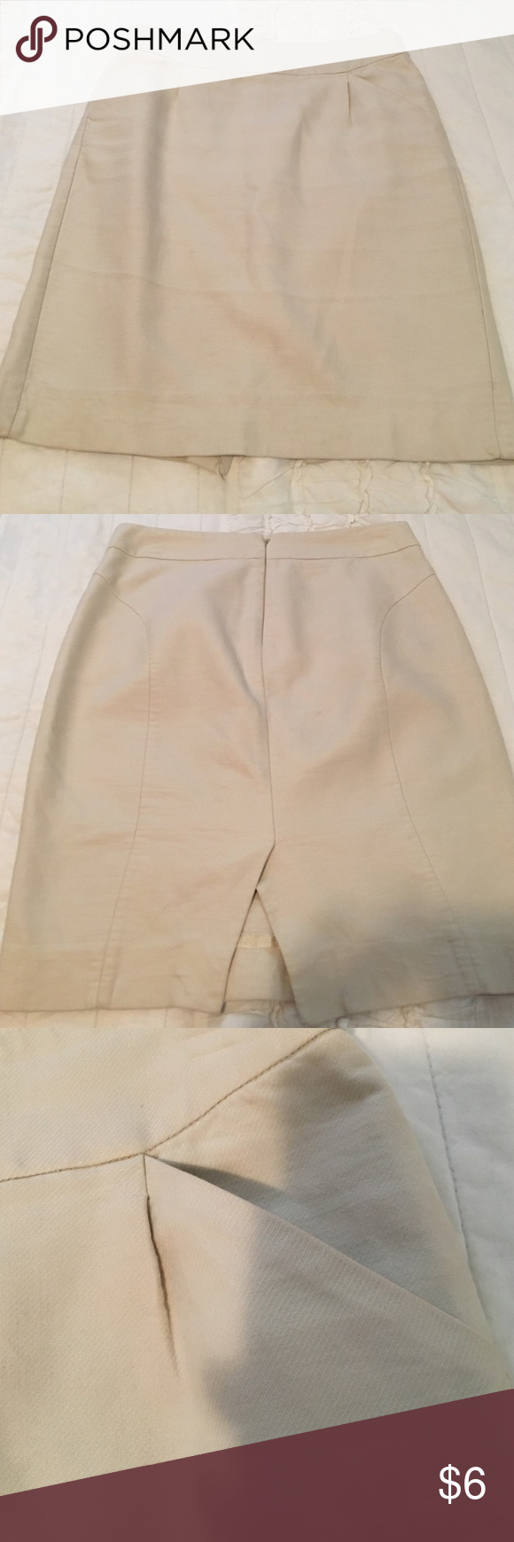 J crew cream skirt This is a j crew skirt. Size 2. Has pockets, has a slit in the back. Used a few times. In great condition! Has a little spot in the back barely noticeable. Does not fit me anymore. Any questions, please don't hesitate to ask!💕 J. Crew Skirts