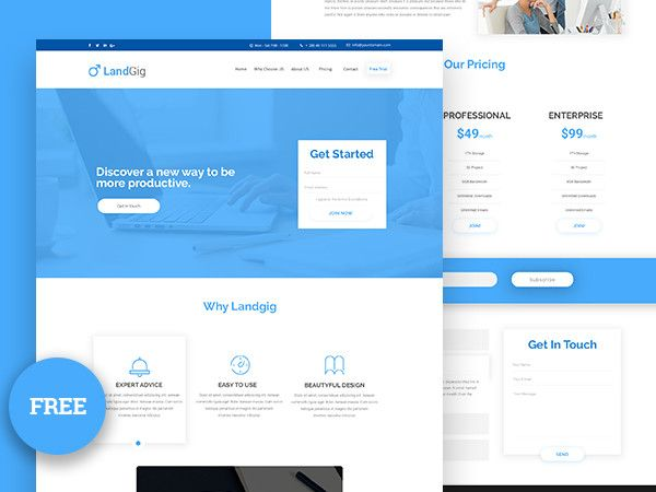 landgig landing page template free psd download pinterest template