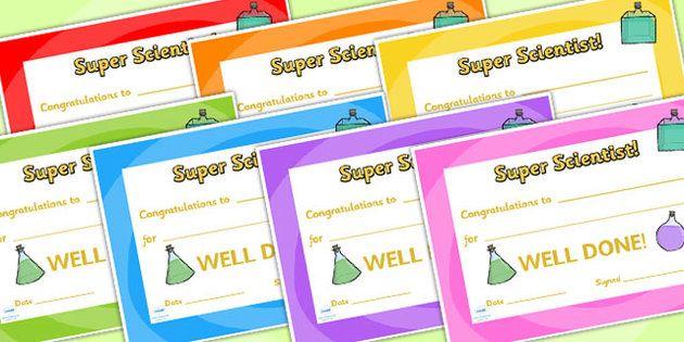 Science Club Certificate Science Club Certificates Reward Award