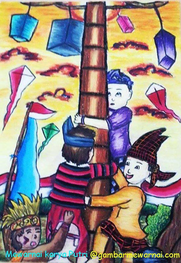 Mewarnai Gambar Tema Hari Kemerdekaan Karya Putri Buku Gambar Gambar Warna