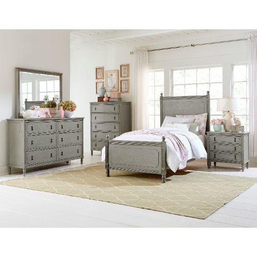 Classic Antique Gray 4 Piece Twin Bedroom Set