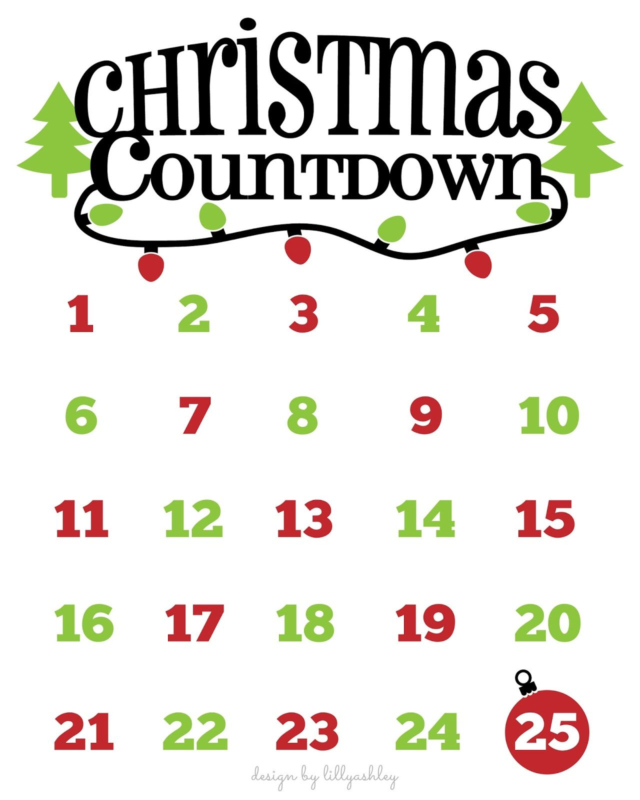 Christmas Countdown Calendar.Christmas Countdown Free Printable And Free Svg Cricut