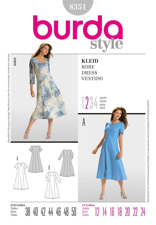 Burda Ladies Sewing Pattern 8351 - Panelled Dresses Sizes: 12-24 ...