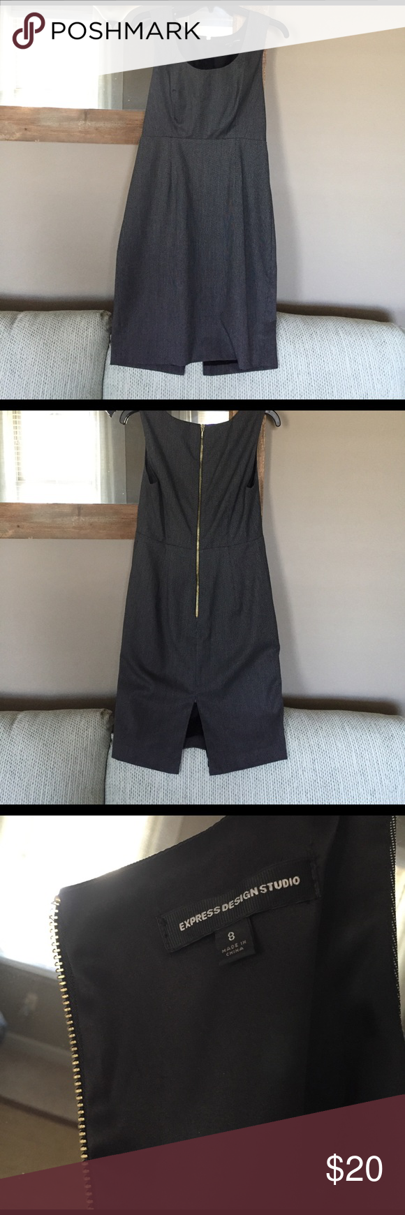 Express dress USED Express dress in a grey (black & white blend). This is a shorter/formfitting style- cute for work with tights & a jacket or going out to show off the gold zipper ❤️ great condition. I typically wear a 6 but this fit me. Express Dresses