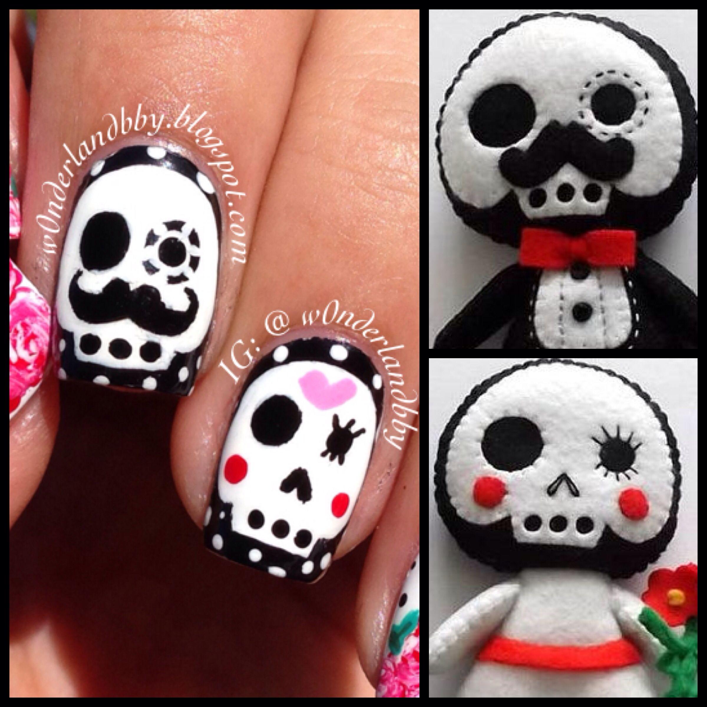 Cinco de Mayo nail art. Sugar skulls. Day of the Dead nail art. Cute ...