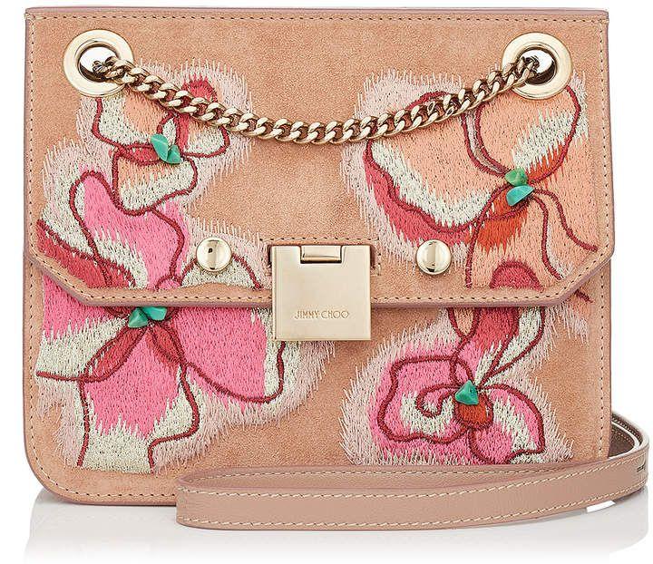 af5aa3a97643 Jimmy Choo REBEL XB Ballet Pink Suede Cross Body Bag with Floral Stitch  Embroidery  handbag  bag  fashion  fashiongoals  women  womensfashion   goals  luxury ...