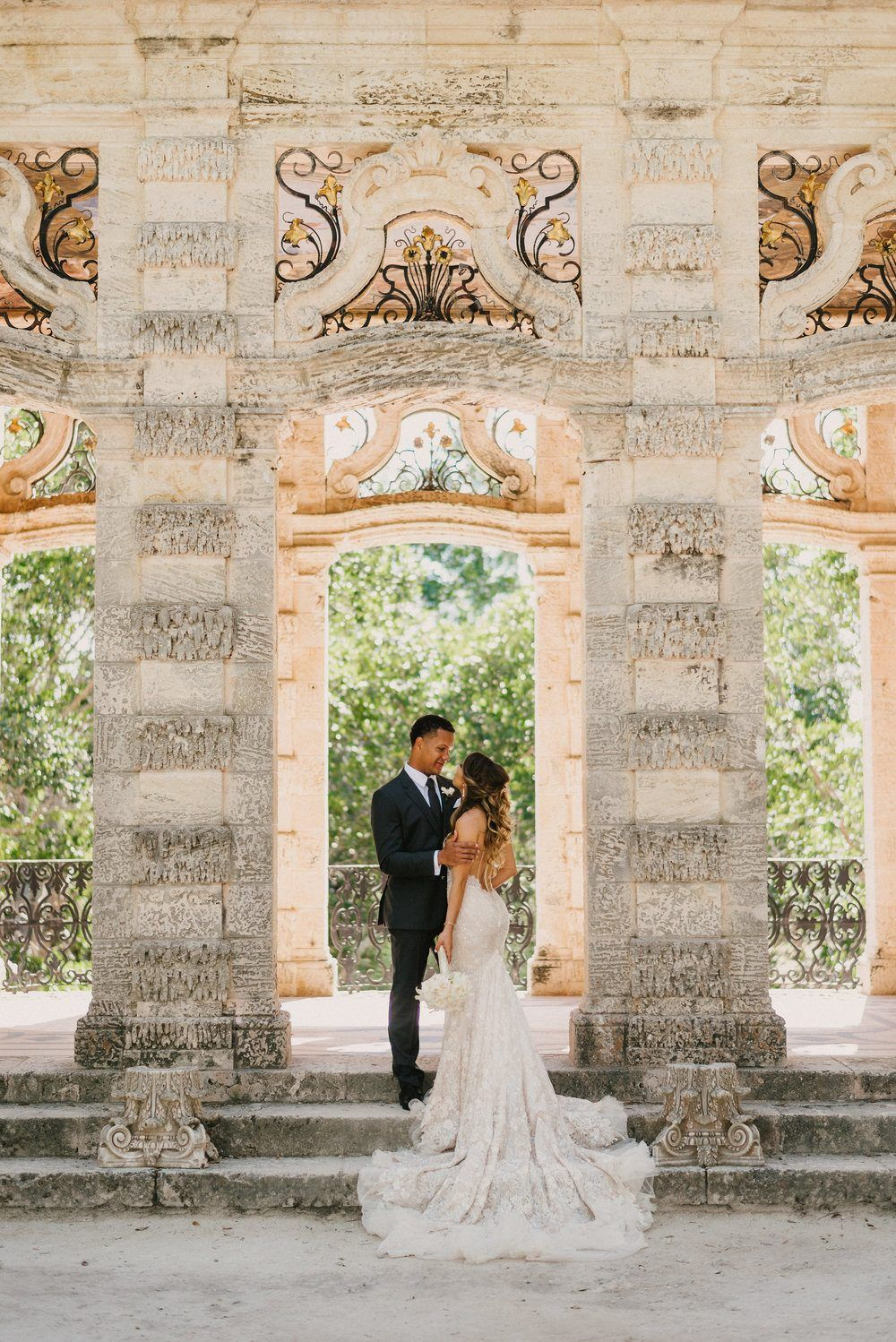This Miami Wedding Glows Up With Reception Lantern Glory Modern Fashion Tropical Palm Fronds And Industrial Color Bloc Vizcaya Wedding Wedding Museum Wedding