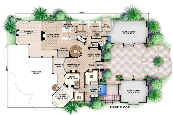 Mediterranean Style House Plan 6 Beds 7 5 Baths 11672 Sq Ft Plan 27 466 Luxury Plan House Floor Plans Mediterranean Style House Plans