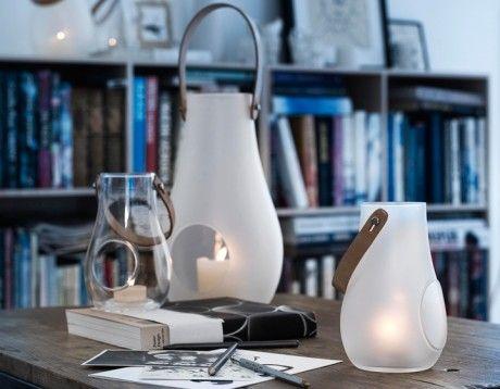 Holmegaard Glaslaterne mit Lederriemen, Laterne Design with Light, matt