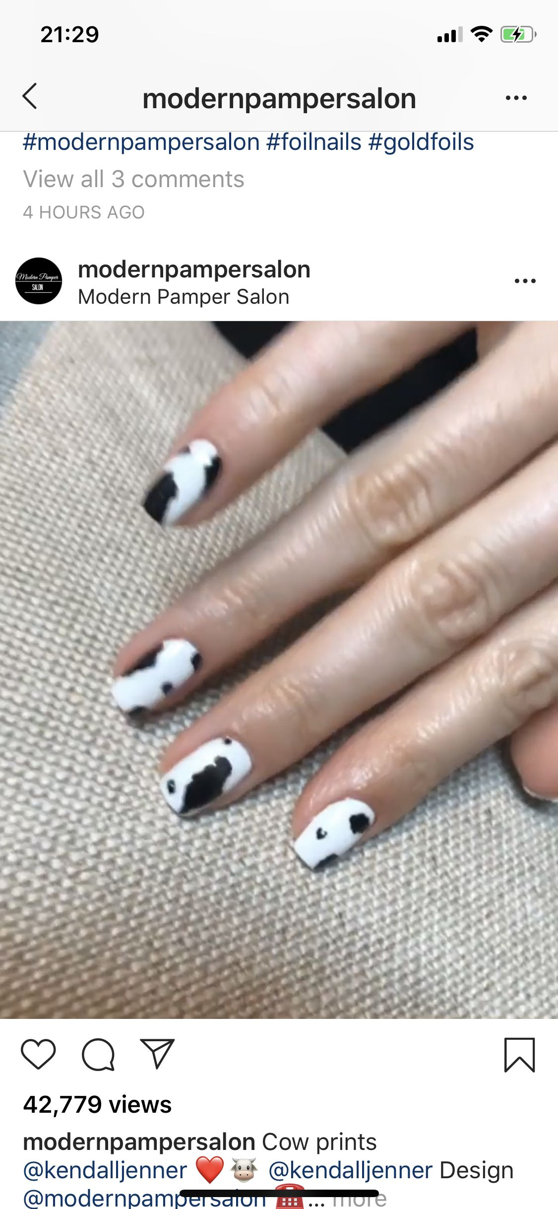 Kendall Jenner Cow Nails Cow Nails Kendall Jenner Nails Nails