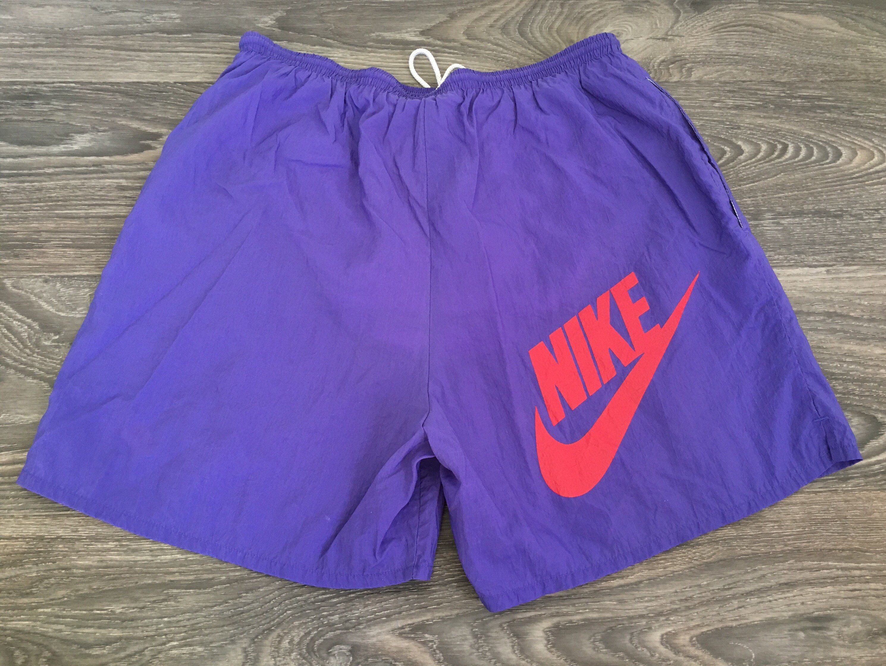 913d0a56c2a50 NIKE Shorts Vintage 80s 90's Nylon Running Neon Purple Grey Tag Shorts  Dance Sport Workout Big logo Size Large by sweetVTGtshirt on Etsy