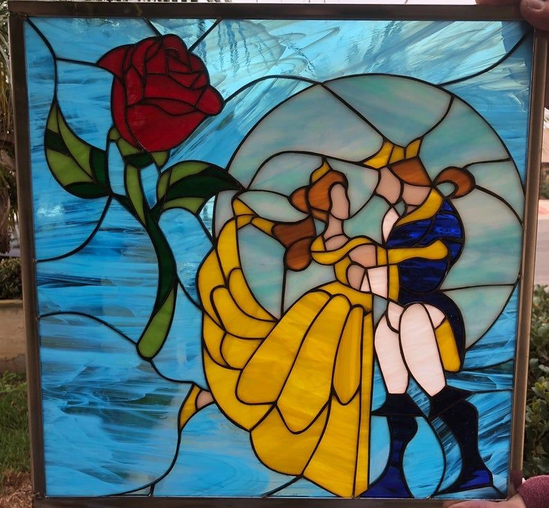 Photo of Mystical!  Beauty And The Beast Stained Glass Window Panel  …