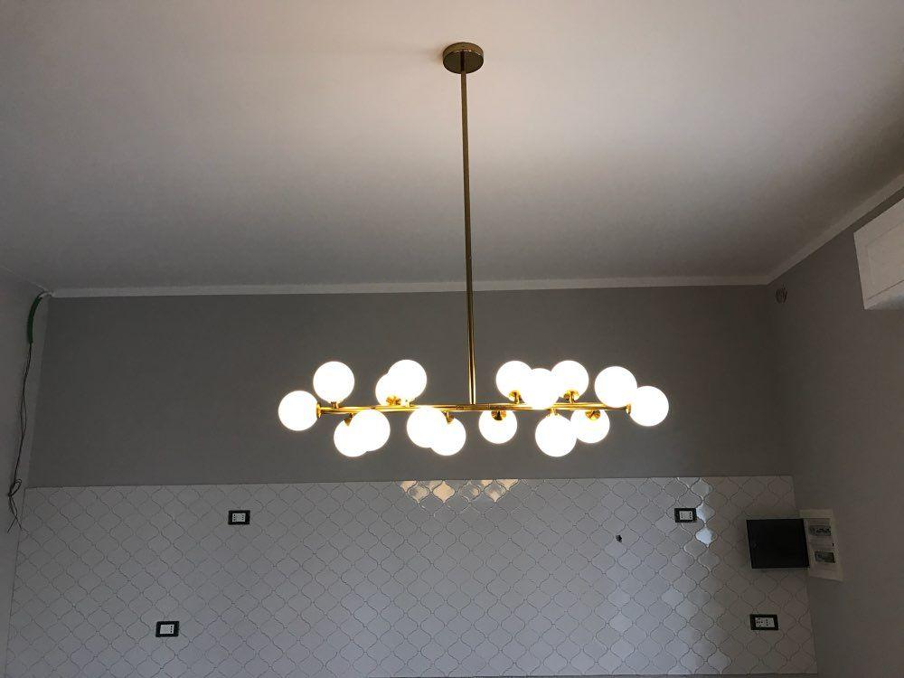 Creative Or Salle A Manger Lustre Moderne En Verre Lampe Suspendue