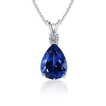 Angara Emerald-Cut Blue Sapphire Solitaire Pendant with V-Bale C60xX5xLhS