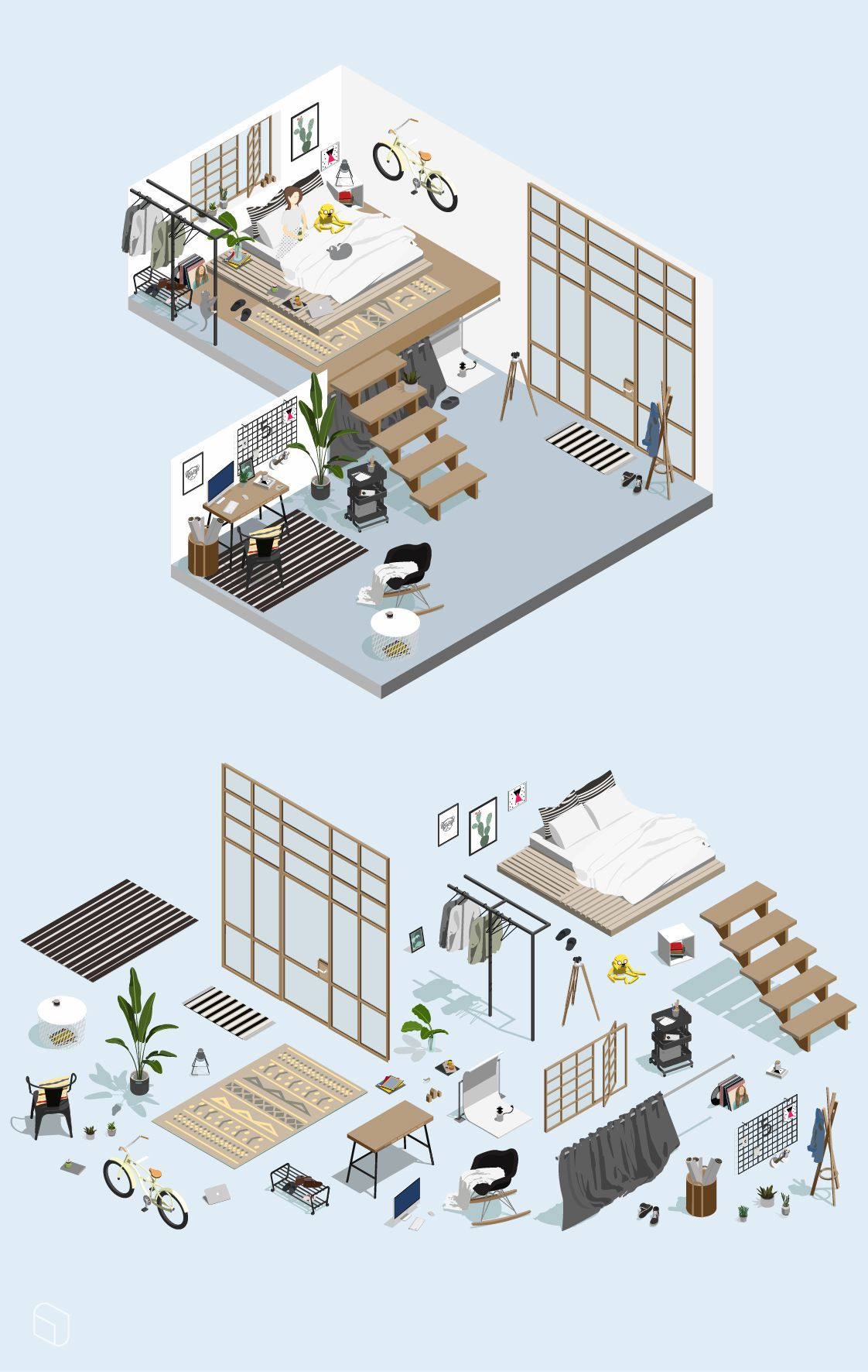 Isometric Home Office Furnitures For Architecture Interior