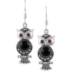Jewel Exclusive Sterling Silver Marcasite Owl Drop Earrings