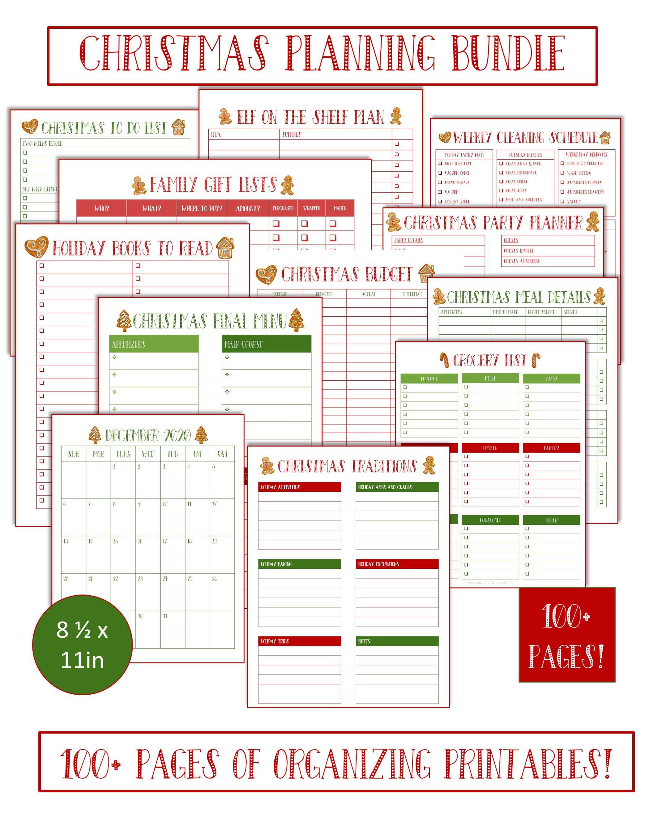 Christmas Planner Holiday Planner Christmas Gift List Planner Printable Christmas Menu Plan Holiday Budget Planner Xmas To Do Holiday Parties Workoutclothes