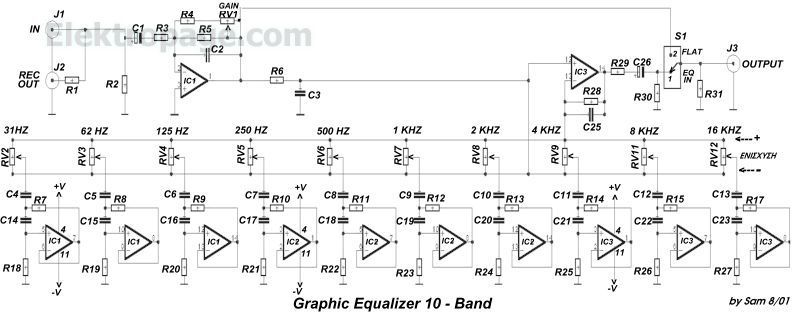 TL074 10 band Equalizer ZF33B gif | Electronics in 2019