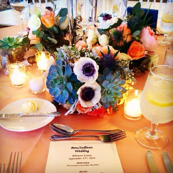 Beautiful flowers at a South Terrace reception at the Biltmore Estate