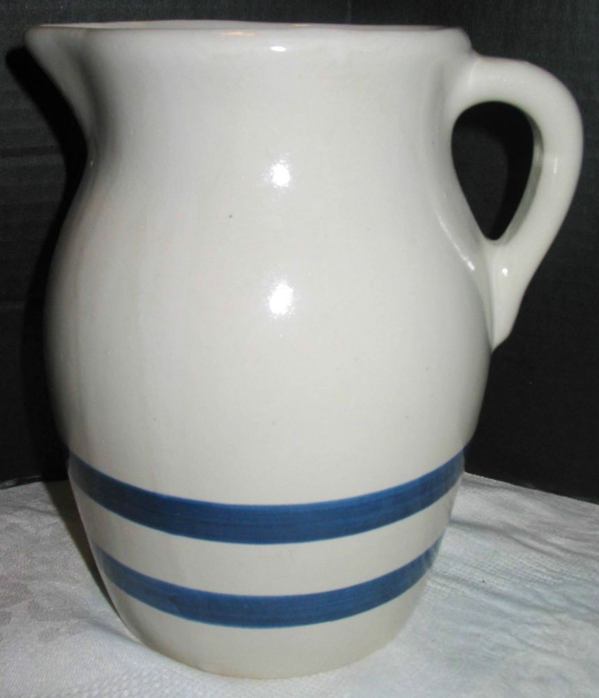 Vintage Country Country Crock DOUBLE BLUE STRIPE BAND Stoneware ...