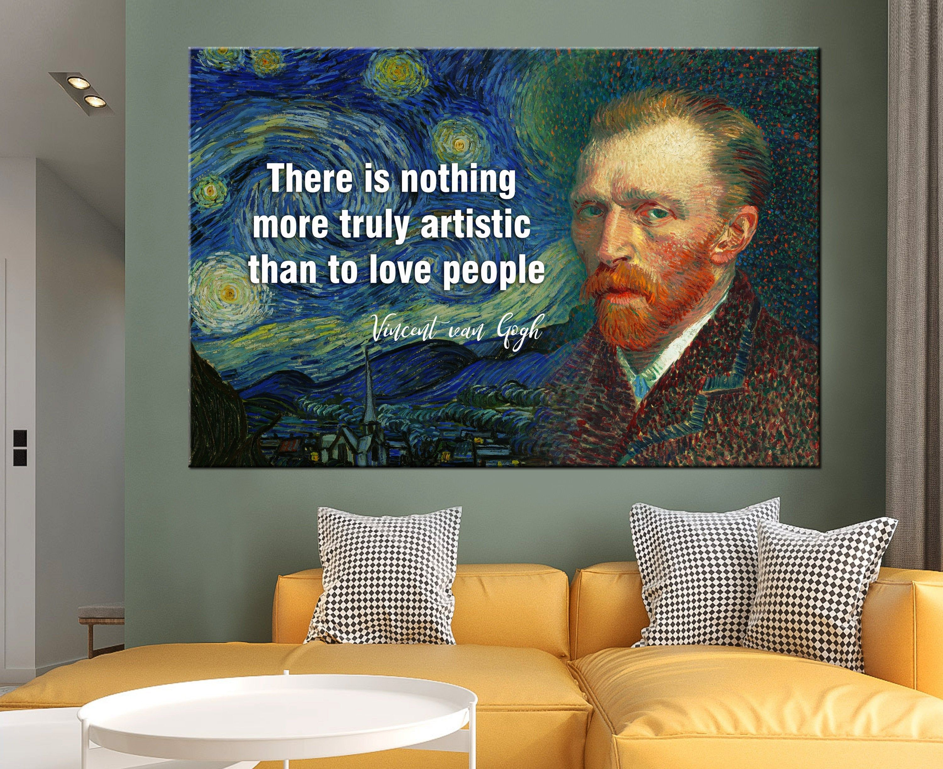 Vincent Van Gogh Wall Art Motivation Print Celebrity Decor Etsy In 2020 Van Gogh Wall Art Custom Canvas Art Wall Art