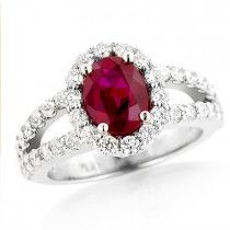 d5afdf3f12d8 Unique Halo Diamond and Ruby Engagement Ring in Platinum 1ctd 1.35ctr  Anillos De Compromiso
