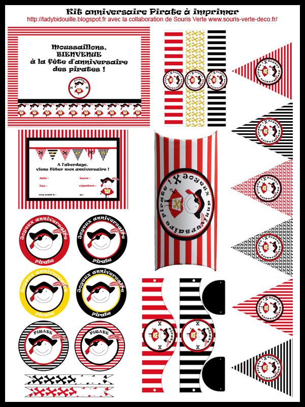 Lady bidouille kit anniversaire pirate imprimer en fran ais banners and pennants - Image d halloween gratuite ...