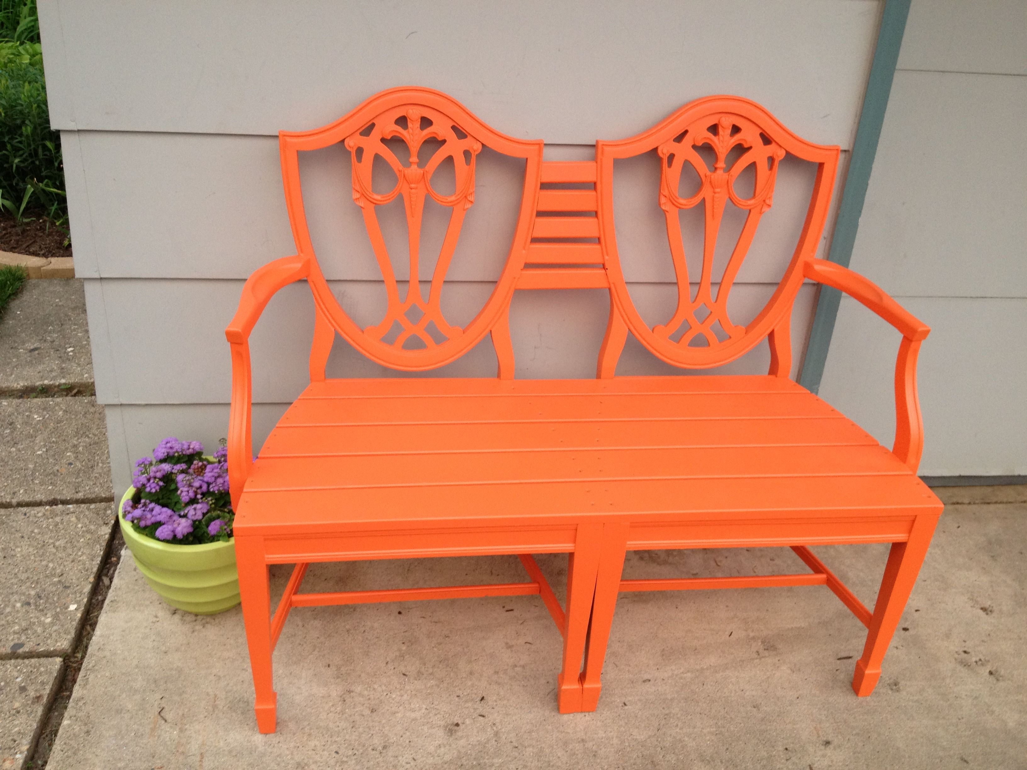High Quality Bench Made From Two Dining Room Chairs:))