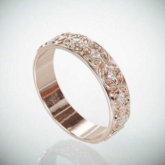 Viking Bands: 14K Rose Gold Celtic Flower Woman Wedding Ring Set With