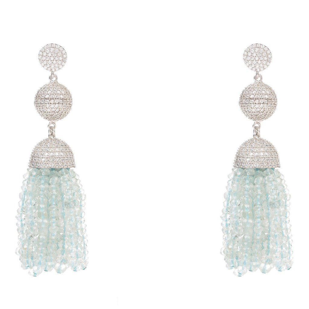Latelita London Tassel Ball Earring Aquamarine (Oxidized) U8ygOH4O