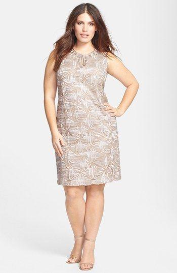 Jessica Howard Beaded Split Neck Shift Dress (Plus Size ...