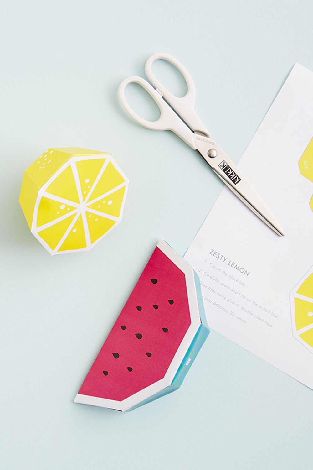 Create your own paper fruit 3d paper desks and 3d for Cute paper crafts