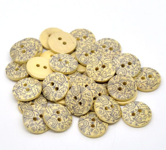 Paisley Wooden Buttons! So cute