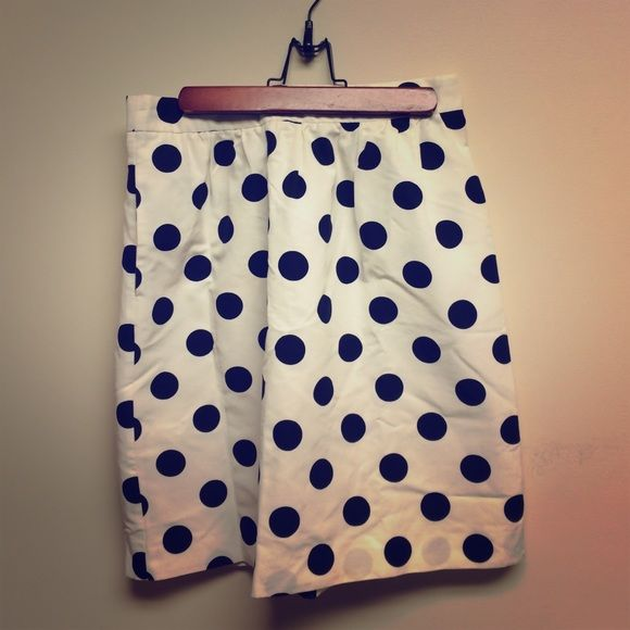 J.Crew skirt J.Crew polka dot skirt in navy and white. This skirt has pockets which is a great feature. It also has some minor stains shown on the second,third, and fourth picture. J. Crew Skirts