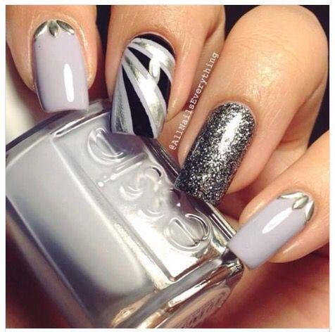 爪の異なる種類の, 美しさのトレンド, それを釘付け, Nailart, グレーのネイルデザイン, 最高のネイルアートデザイン, 灰色の爪, 銀の爪,  考え