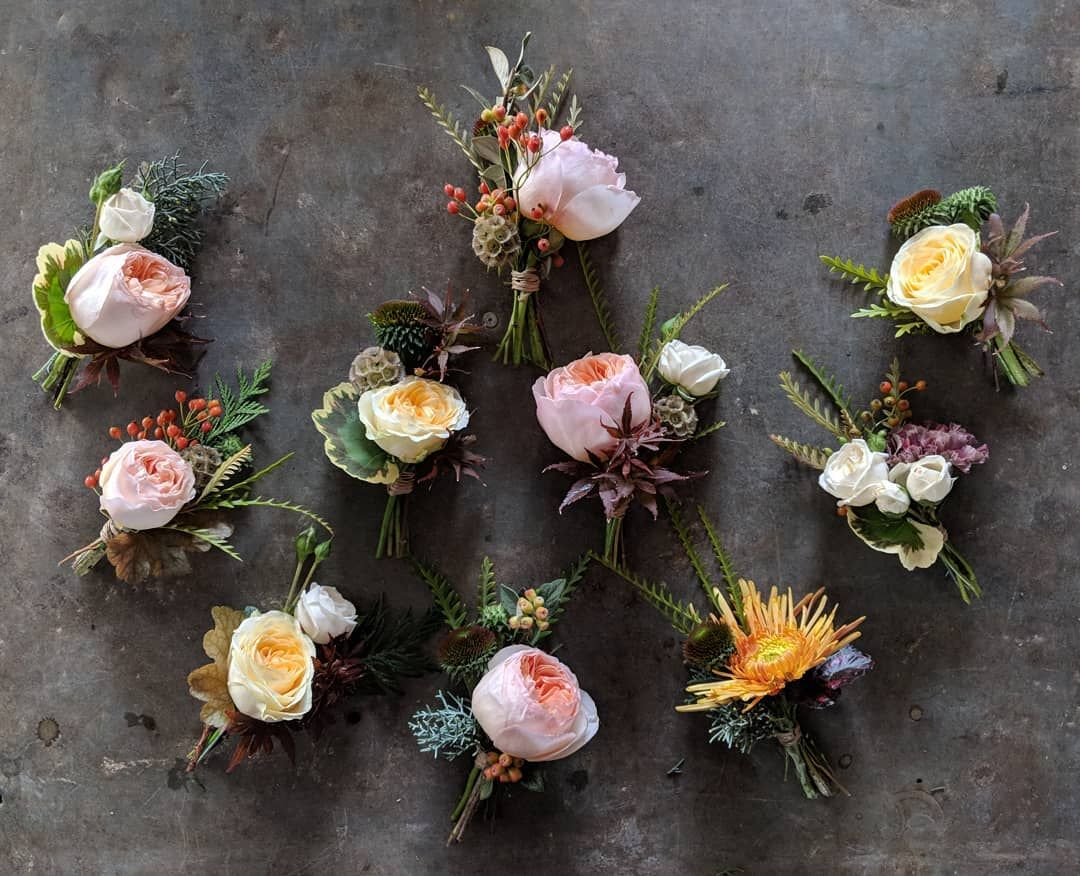 Buttonholes large, wild with a nod to autumn Wedding