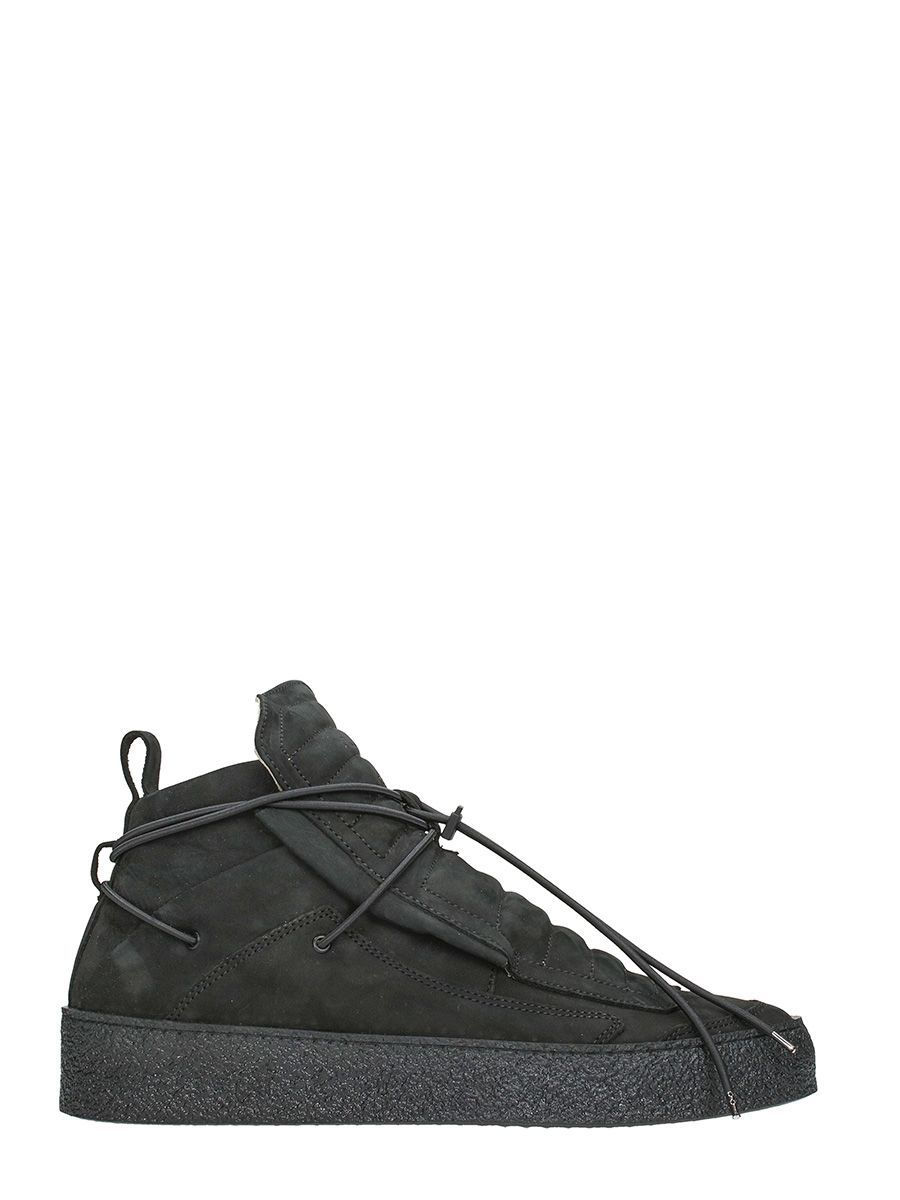 newest 2849b c3b1c YLATI FOOTWEAR BLACK NABUK ULISSE HIGH SNEAKERS ...
