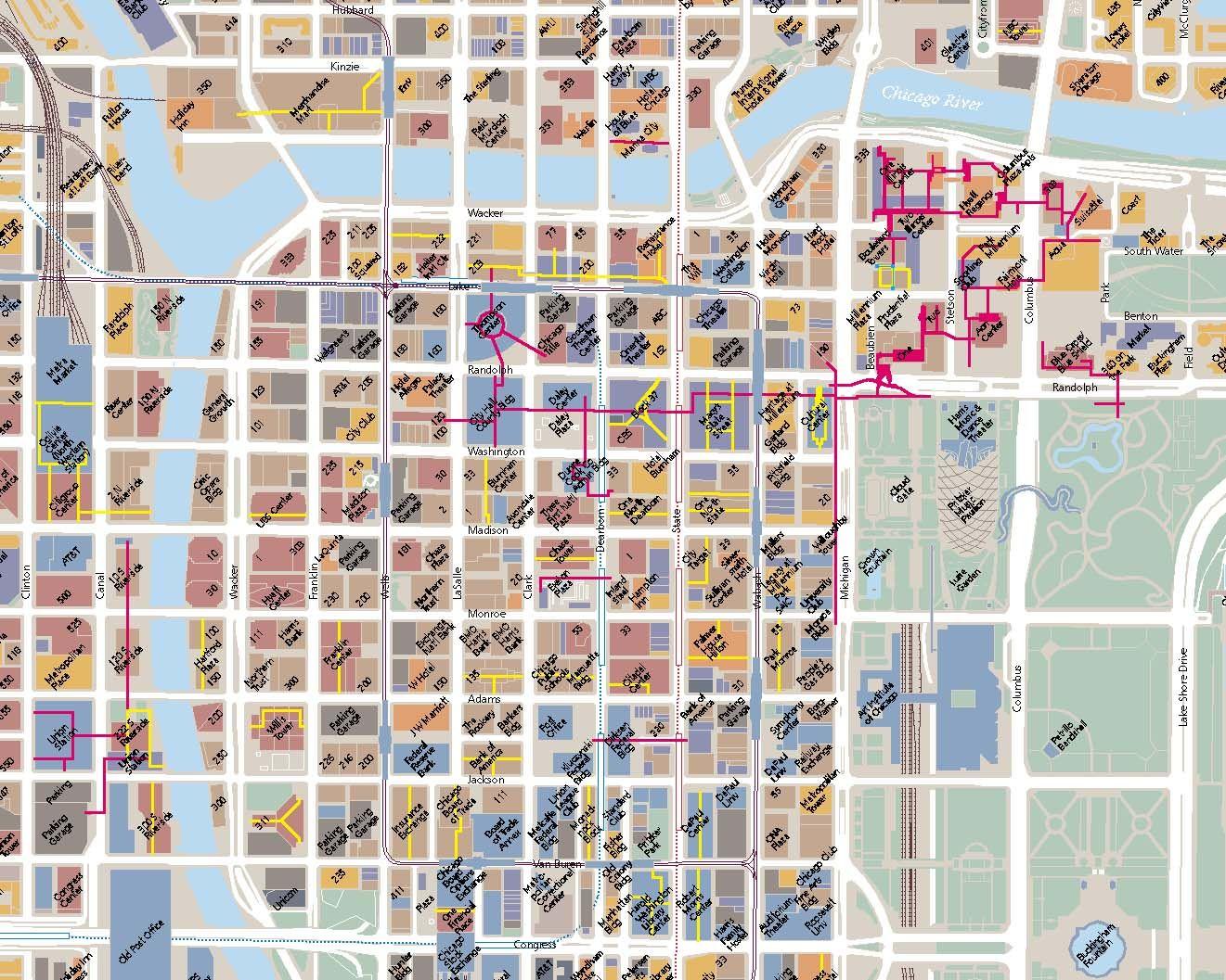 Chicago America Map.Pedway Map Chicago Underground World North America Chicago