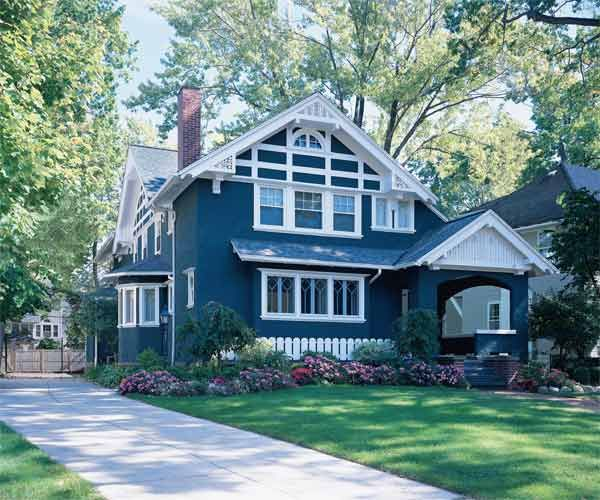 Exterior home paint victorian on pinterest white trim for Blue house builders