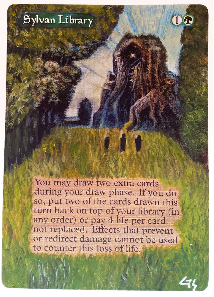 Mtg altered art sylvan library pro tour hand painted full